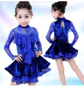 Royal blue colored girls kids toddlers baby children velvet  lace long sleeves turtle neck competition professional exercises latin dance dresses