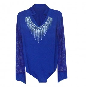 Royal blue colored long sleeves mens mans men's male v neck rhinestones competition professional latin ballroom waltz tango dance shirts tops