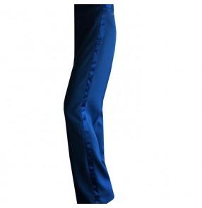 Royal blue colored male mens mans men's long length competition professional practice silk side ribbon Ballroom  latin samba salsa cha cha dance pants dancers trousers