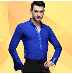 Royal blue colored men's man mens long sleeves silk like ribbon stand collar competition professional ballroom latin jive tango waltz dance shirts tops