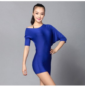 Royal blue colored women's ladies female loose sleeves competition professional latin dance dresses samba salsa cha cha dance dresses