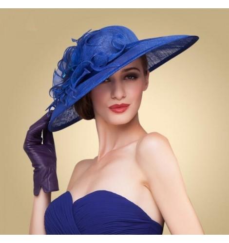 royal blue Elegant Women Wide Brim Floral Floppy Fancy Derby Wedding Dress  sinamay Church Hat c1f62442f60
