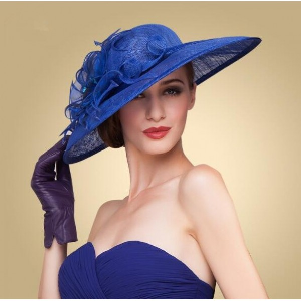 royal blue elegant women wide brim floral floppy fancy