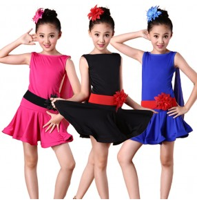 Royal blue fuchsia black sleeveless girls kids child children exercises practice latin salsa samba cha cha dance dresses