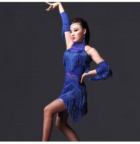 Royal blue fuchsia black Women's girls sexy sequined tassels latin dance dresses salsa samba chacha dresses