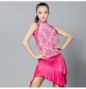 Royal blue fuchsia colored ladies women's female  lace exercises practice latin samba salsa cha cha dance dresses split set