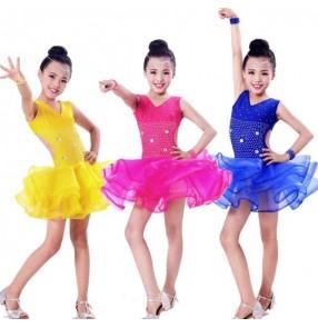 Royal blue fuchsia gold yellow rhinestones girls kids child children toddlers sleeveless backless competition professional latin salsa cha cha rumba samba dance dresses