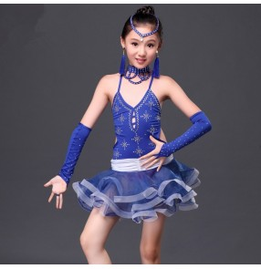 Royal blue fuchsia hot pink red patchwork rhinestones girls kids child children competition professional latin salsa cha cha dance dresses with gloves