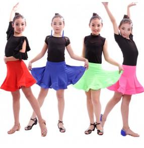 Royal blue fuchsia neon green red patchwork colored girls kids child children competition exercises latin dance dresses split set samba salsa cha cha dance dresses