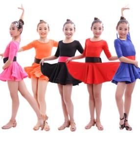 Royal blue fuchsia orange black red colored girls kids child children short sleeves round neck exercises practice latin salsa cha cha dance dresses
