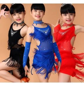 Royal blue fuchsia red black tassels rhinestones girls kids child children toddlers competition gymnastics professional latin cha cha salsa ballroom dance dresses