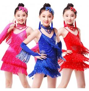 Royal blue fuchsia red colored Girls kids child chilren baby competition professional tassels with gloves choker headdress latin dance dresses samba cha cha salsa dresses