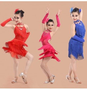 Royal blue fuchsia red Girls kids child children baby fringe rhinestones backless with gloves professional competition exercises latin dance dresses