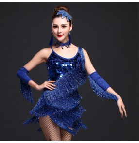 Royal blue fuchsia red rhinestones women's ladies female paillette sequins tassels strap latin samba salsa cha cha dance dresses set with glove headdress earrings
