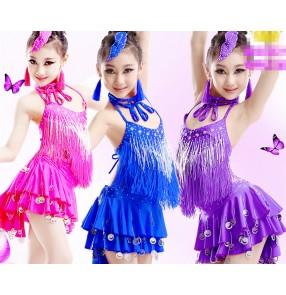 Royal blue fuchsia red turquoise Girls children kids child competition professional dance dresses samba salsa chacha dresses 110-170cm