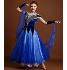 Royal blue fuchsia rhinestones colored velvet tulle patchwork  womens women's ladies female competition professional standard full ballroom waltz tango dance dresses with choker and gloves