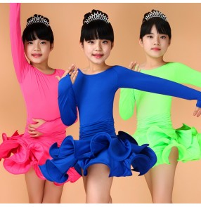 Royal blue fuchsia turquoise neon green yellow colored girls kids child children toddlers kids long sleeves round neck ruffles skirts competition latin ballroom dance practice dance dresses leotard skirts