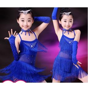 Royal blue Girls children child kids baby fringe rhinestones diamond sleeveless strap competition exercises professional latin salsa dance dresses