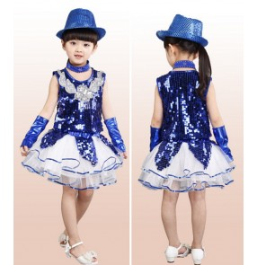 Royal blue god yellow Girls kids children child baby sequin paillette modern dance stage princess performance jazz dance costumes dresses