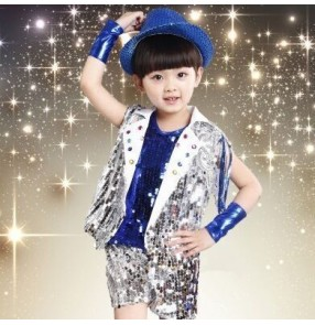 royal blue gold yellow Boys kids children child baby paillette sequined modern dance stage performance costumes jazz dance clothes set top shorts coat cuffs