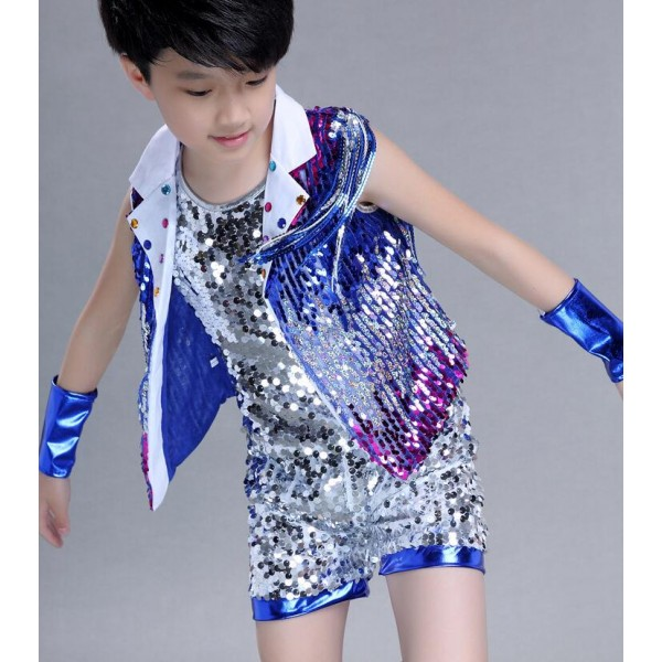 Royal Blue Gold Yellow Silver Patchwork Sequined Paillette Boys Child Children Teen Growth Toddlers Modern Dance Jazz Hip Hop Costumes Outfits