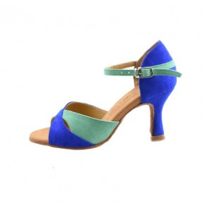 Royal blue green patchwork colored women's ladies female soft  genuine leather sole  latin samba salsa cha cha tango waltz dance shoes 7.5cm heel height