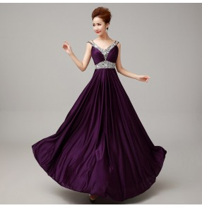 Royal blue purple wine red Women's lady diamond strap shoulder A-line long length evening dress wedding party bridal dress