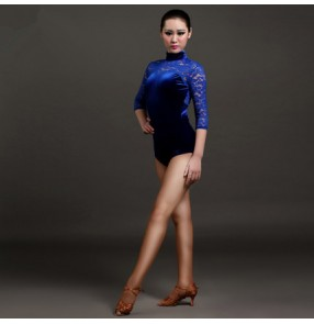 Royal blue red black lace patchwork turtle velvet women's ladies female womens middle long lace sleeves leotard one piece gymnastics latin dance tops bodysuits catsuits
