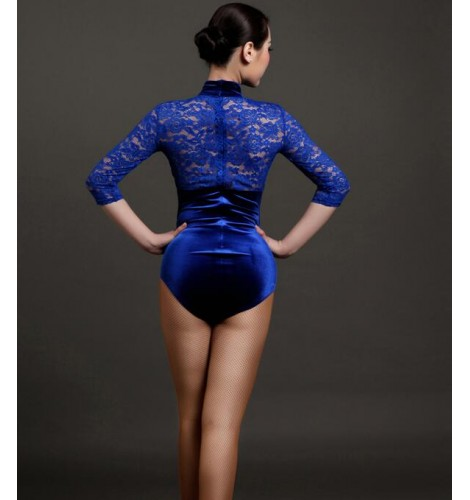 789728460b Royal blue red black lace patchwork turtle velvet women s ladies female  womens middle long lace sleeves leotard one piece gymnastics latin dance  tops ...