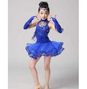 Royal blue red fuchsia fringe girls kids child children toddlers paillette competition stage performance latin salsa cha cha dance dresses costumes