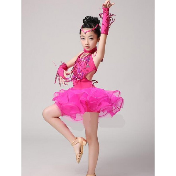 96d274e762 Royal blue red fuchsia fringe girls kids child children toddlers paillette  competition stage performance latin salsa cha cha dance dresses costumes