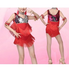 Royal blue red Girls kids child children sequins backless sleeveless strap tassels professional competition latin samba salsa cha cha dance dresses