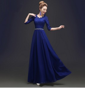 Royal blue red  plus size Women's diamond decoration waistline lace half length sleeves A-line evening dress wedding party dresses