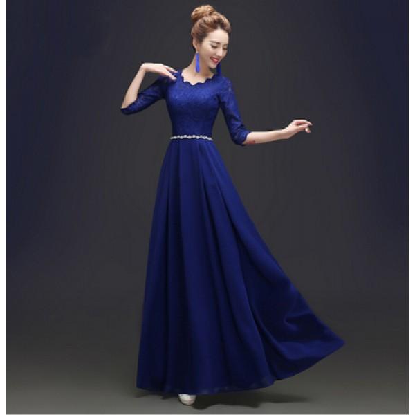 Royal blue red plus size women 39 s diamond decoration for Royal blue plus size wedding dresses