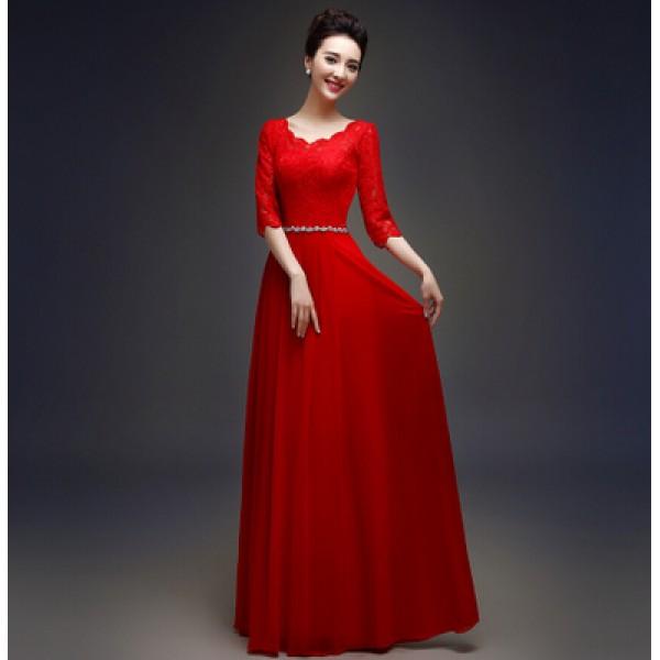 Royal blue red plus size Women\'s diamond decoration waistline lace half  length sleeves A-line evening dress wedding party dresses