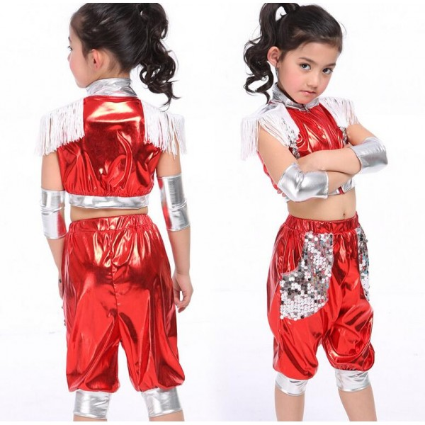 Royal blue red silver colored patchwork paillette tassels girls kids  children child boys modern dance hip hop street dance stage performance  jazz dj