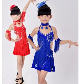 Royal blue red yellow violet purple girls kids child children toddlers growth  backless latin salsa cha cha dance dresses