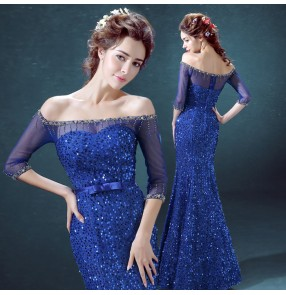 Royal blue sequins paillette rhinestones mermaid women's ladies female slash neck dew shoulder half length sleeves evening wedding party bridesmaid long length wedding gown evening dresses vestidos