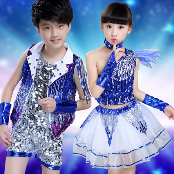 529fd0eba2e3 Royal blue silver gold silver patchwork sequined paillette girls ...