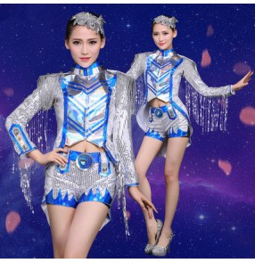 Royal blue silver sequins women's ladies long sleeves tuxedo fringes tassels fashion sexy stage performance modern cos play dance jazz singer ds hip hop dance costumes outfits