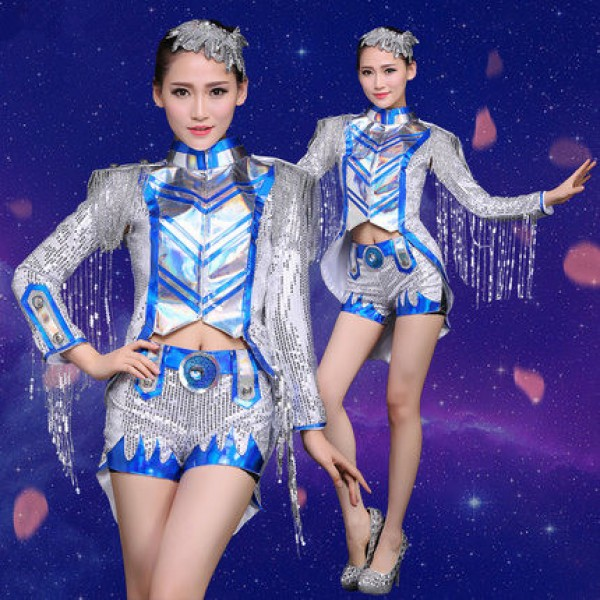 72140165ba Royal blue silver sequins women s ladies long sleeves tuxedo fringes  tassels fashion sexy stage performance modern cos play dance jazz singer ds hip  hop ...