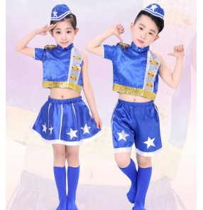 Royal blue white patchwork  with hats girls kids child children boys toddlers kindergarten baby jazz dance t show play modern street dance hip hop dance costumes outfits