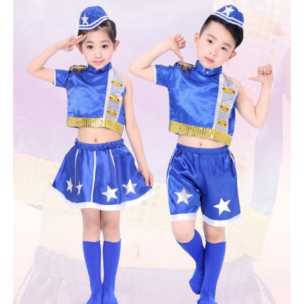 Royal Blue White Patchwork With Hats Girls Kids Child