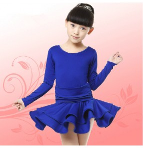 Royal blue yellow fuchsia hot pink girls kids children long sleeves school performance gymnastics competition ballroom latin dance dresses outfits dancewear