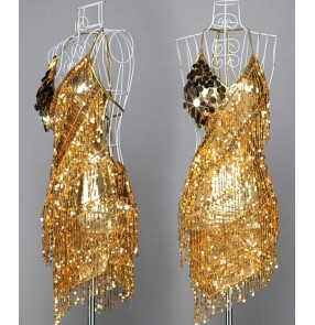 Sequined Latin Tassels Dresses Dance skirt