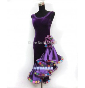 Silk like Latin dance dress adult performance competition waltz dress velvet ballroom dance dress