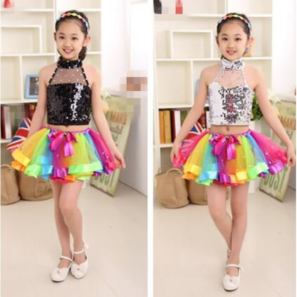 Silver Black Sequined Paillette Sleeveless Rainbow Multi Colored Tutu Skirts Backless Summer Spring Stage Performance Girls Kids Child Children Modern Dance