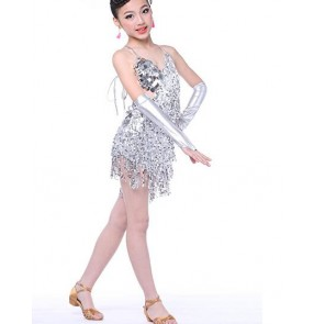 Silver gold colored paillette  sequined fringes girls kids child children toddlers growth backless latin salsa cha cha rumba samba dance dresses wiith gloves S M