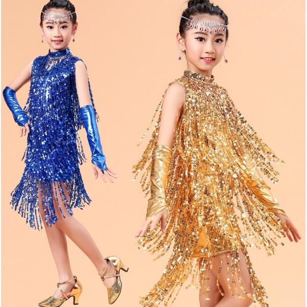 Blue Dress with Gold Fringe