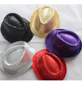Silver gold red violet black  paillette colored Boys girls kids child children kids toddlers stage performance modern jazz dance hip hop dj ds singer party cos play dance costumes accessories hats fedoras